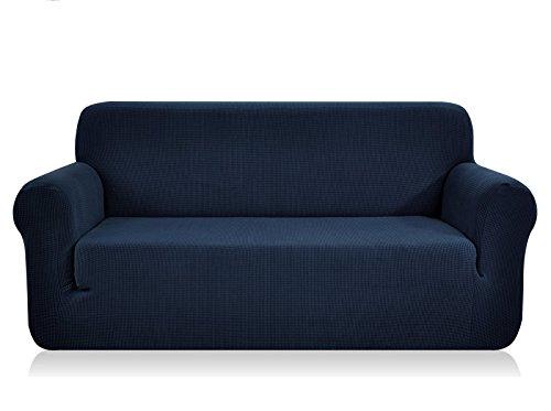 CHUN YI Jacquard Sofa Covers 1-Piece Polyester Spandex Fabric Slipcovers(Loveseat, Dark Blue)