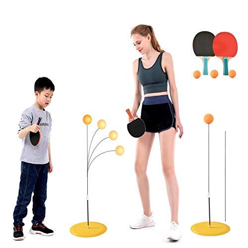 Tischtennis-Trainer mit elastischem weichem Schaft, Freizeit Dekompression Sport für Kinder Erwachsene, Ping Pong Bälle Paddel Set Indoor oder Outdoor Spielen (3 Tischtennispaddel + 3 Ping Pong Balls)
