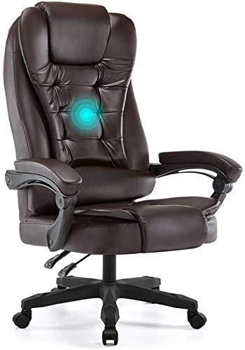DFKDGL Silla reclinable con Respaldo Alto Asiento Grande y función de inclinación Masaje de Espalda y sillas de Escritorio de Primavera (Color: Beige) para Estudio de Oficina en casa