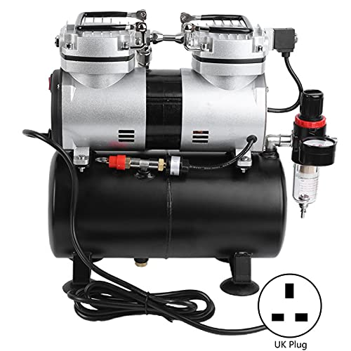 1/4HP Airbrush Compressor - Air Compressor Pump Cylinder Airbrushing System Kit Dual Cylinder Spray Kit - for Painting(UK plug 220V)