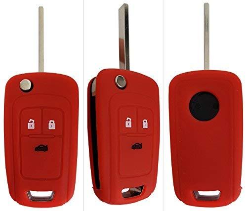 CK Custodia per chiave auto, in silicone, per modelli Opel Adam, Cascada, Mokka X, Astra, Corsa, Insignia, Meriva e Zafira 3-Button-Keybit Rot