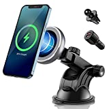 Magenetic Wireless Car Charger 15W for iPhone 13/13 Pro/13 Pro Max/13 Mini/12/12 Pro/ 12 Pro Max/12 Mini,Fast Charging Dashboard Air Vent Car Mount Compatible with MagSafe Cases