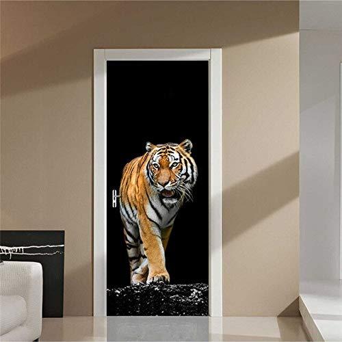 A/X 3D-Türaufkleber erneuern Buddha Tiger Landscape PVC-Wandbild Papierdruckkunst Home Decor Picture Selbstklebende wasserdichte Tapetentür YXCV2772-03