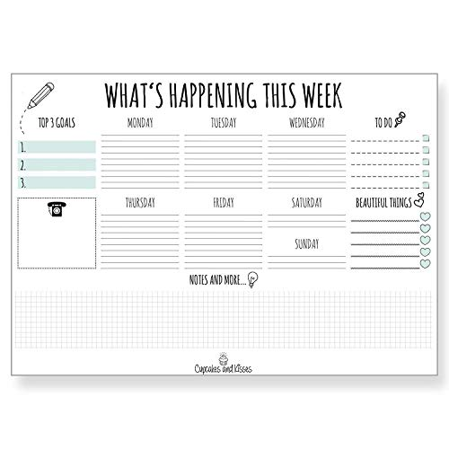 CUPCAKES & KISSES Papier-Schreibtischunterlage Kalender/Papier: weiß / 25 Blatt zum Abreißen / Notice & Scribble / Wochenplaner / Organizer / To-Do (türkis)