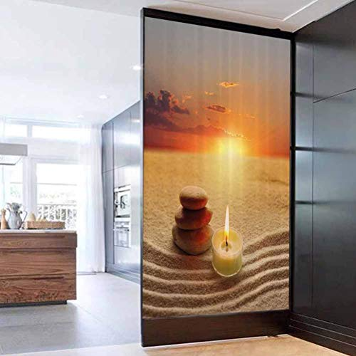 Self Adhesive Glass Sticker Sunscreen Waterproof Boho Stack of Stones and Candle Chakra Meditation Zen Horizon Backdro Privacy Glass Film for Home &Office 17.7 x 35.4 in