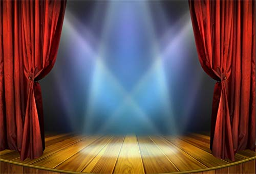 Laeacco 8x6.5ft Bright Round Wooden Stage Backdrop Vinyl Bright Interlaced Spotlights Red Curtain Rustic Vintage Wooden Floor Background Performance Show Award Ceremony Banner Talent Show Shoot