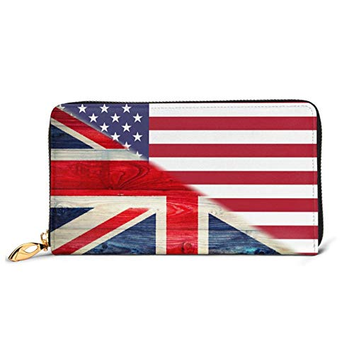 American Flag and Vintage British Flag Men Women Long Leather Purse Zipped Closed Wrist Wallet Card Slot