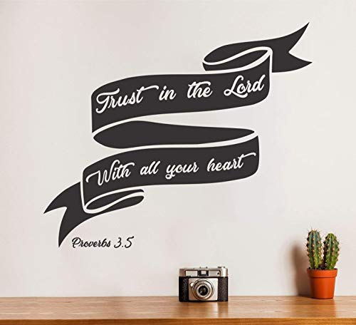 Wallency Bible Verse Wall Decal Proverbs 3:5 - Removable Vinyl Sticker Lettering