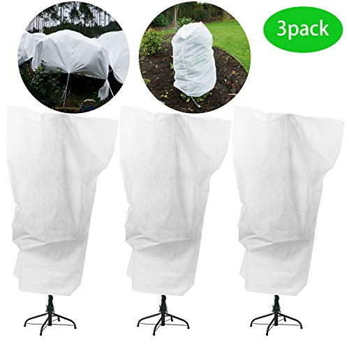 Alpurple 3 Packs Winter Drawstring Plant Covers - 47' X 31.5' Warm Plant Protection Cover Bags, Frost Cloth Blanket Protecting Fruit Tree Potted Plants from Freezing Animals Eating