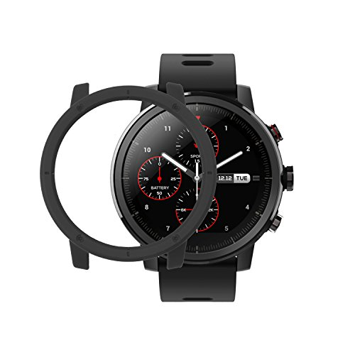 Amazfit Stratos Cover SIKAI Shockproof Anti-Scratch Protective Bumper Case for Huami Amazfit Stratos Smart Watch Lightweight Skin for Amazfit Stratos (Black)