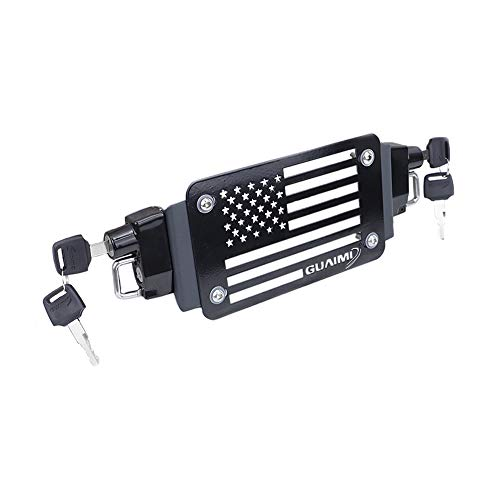 GUAIMI License Plate Helmet Security Lock with Mount Carved American Flag Left & Right Side Anti-Theft Helmet Lock Universal Fit for Motorcycles with Flat Brackets-Black