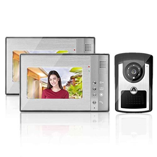 Videoportero, Timbre de 7 pulgadas HD Kit de intercomunicación Sistema de monitor con 12 sonidos de acordes, visión nocturna, Impermeable(UE)