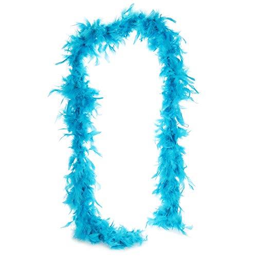 com-four Disfraces Retro Disfraz de Mujer de los años 20 y Varias Extensiones - Look Charleston - Vestido de Lentejuelas Flecos Vintage, Boa Plumas, Collar Perlas, Pelucas (1 Pieza 180cm 50g Azul)