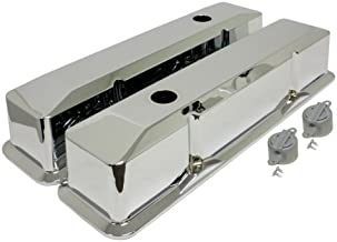 1958-86 Compatible/Replacement for CHEVY SMALL BLOCK 283-305-327-350 TALL CHROME ALUMINUM RECESSED VALVE COVERS - SMOOTH