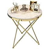 N /A YYHEN Hermosa Mesa de café/Mesa de Esquina para Sala de modernización, artesanía chapada en Oro de Acero Inoxidable, Mesa de mármol, Textura Transparente
