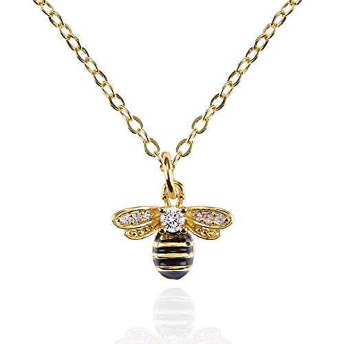namana Bumble Bee Necklace for Women. Gold Pendant Necklace with Cubic Zirconia and Black Enamel. Bumble Bee Gifts for Women with Gift Box.