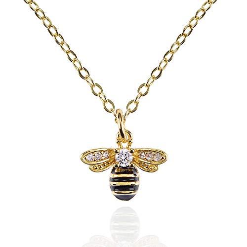 namana Collar con Colgante de Abeja para Mujer y Niñas. Collar de Oro con Circonitas Cúbicas y...