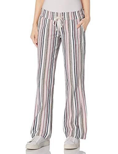 Roxy Oceanside Yarn Dye Pant Pantalones, Ceniza Rosa Raya Junto a la Playa, S para Mujer