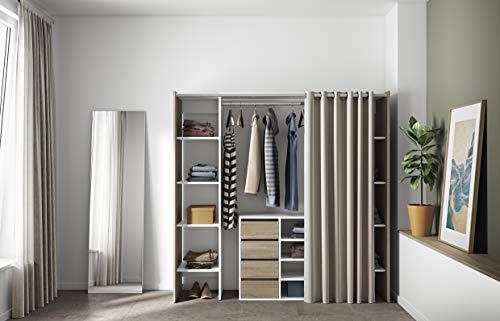 Symbiosis Clothes System 2 Columns with Storage Cabinet Dressing a rideu Extensible Tom, Blanc Écru, Rideau Chêne Ecru, 112/185,3x50x182 cm