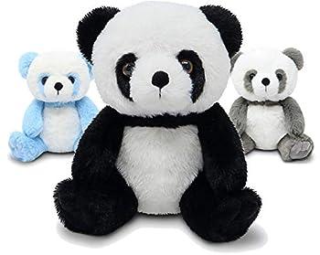 Fluffuns Panda Stuffed Animal - Stuffed Panda Bear Plush Toys - 9 Inches 3-Pack  Black Blue & Gray