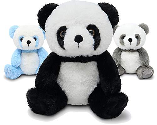 Fluffuns Panda Stuffed Animal - Stuffed Panda Bear Plush Toys - 9 Inches (Black, Blue & Gray)