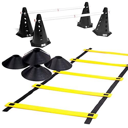 Kit Escada De Agilidade + 10 Cones Com Barreira + 10 Chapéu