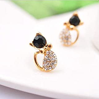 1set Rose Gold GP Shinning Cute Bowknot Cat Stud Earrings Crystal Ear Stud Gift