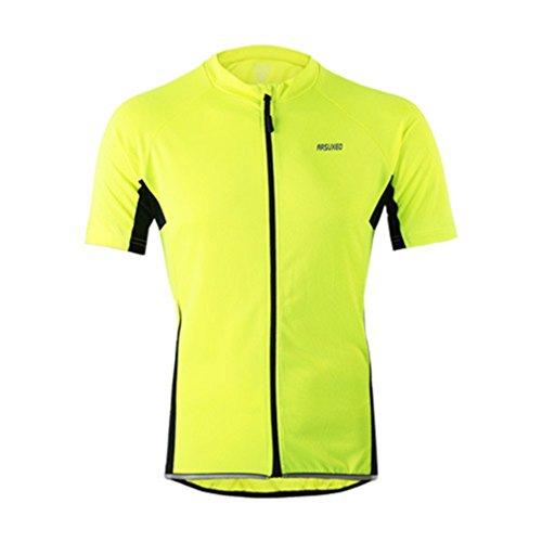 emansmoer Homme Manches Courtes Élastique Slim fit Tee Tops Respirante Outdoor Cyclisme Vélo Jersey Sport Wicking T-Shirt (XXX-Large, Vert)