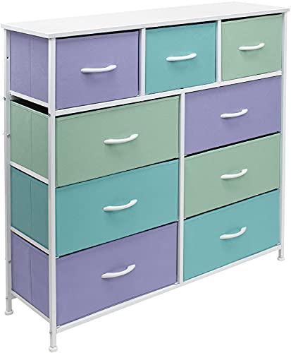 Sorbus 9 Drawer Kids Dresser Organizer, Large Bedroom Organization, Clothes Storage for Kids Teens Boys & Girls, Tall Closet, Playroom, Multi-Color Fabric Bins - Wood Handle (Pastel 2)