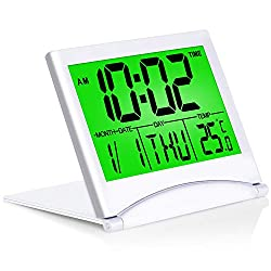 Betus Digital Travel Alarm Clock with Backlight - Foldable Calendar & Temperature & Timer LCD Clock with Snooze Mode - Large Number Display, Battery Operated - Compact Desk Clock for All Ages (Silver)