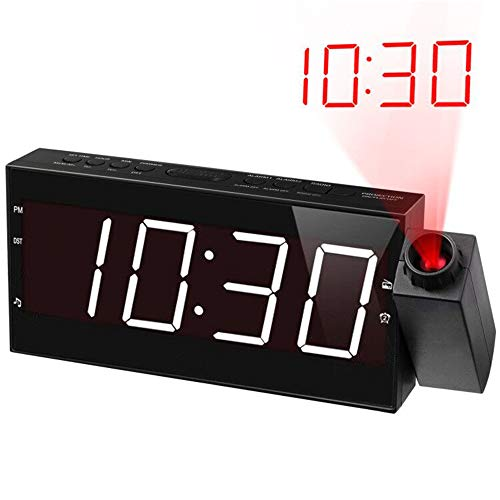 """Projection Alarm Clock Radio for Bedrooms,Wall Ceiling Clock with FM Radio,180° Projector,7"""" Large Display & 5 Dimmer,Buzzer/Radio"""
