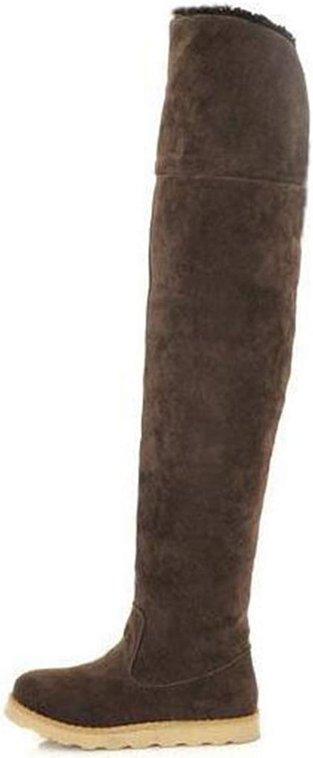Autumn and Winter Faux Suede Snow Boots Over The Knee Flat with Thigh High Boots Slimming Cotton Boots