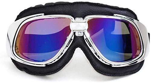 YASE-king UV-Schutz Brille Brille for Motorrad Retro Aviators mit Anti-Fog-Linsen und Stahlrahmen Motorrad-Schutzbrillen for Helme (Color : C)