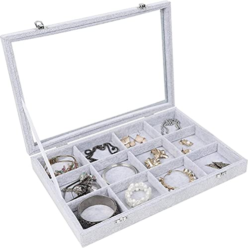 T.T-Q Bandeja de exhibición de collar de anillo de 12 dígitos Cajas para relojes aretes caja de aretes de gran capacidad caja de almacenamiento de primer anillo regalo de cumpleaños 35.2*24.2*4.7cm