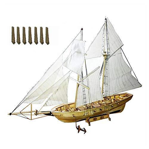 Maquetas De Barcos Para Construir Para Adultos, 1: 130 Modelo De Vela De Madera Ensamblaje Modelo De Barco Kit De Velero Diy Para Niños, Con 8 Accesorios De Artillería De Bronce-1: 130 Harvey