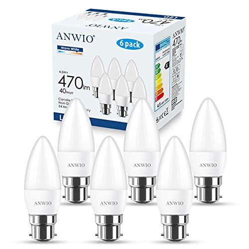 ANWIO Lot de 6 4.5W Ampoule LED Bougie B22 Equivalent Ampoule Halogène 40W Baionnette, 470Lumen 2700K Blanc Chaud, Non-dimmable