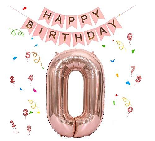 ZoneYan Globos Numeros, Globos Numeros Cumpleaños, Globos Cumpleaños Oro Rosa, Globos Dorados, Globos Papel de Aluminio Cumpleaños, Pancarta de Feliz Cumpleaños Decoracion (2)