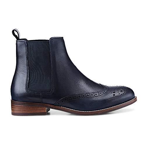 Cox Damen Damen Chelsea-Boots aus Leder, Stiefeletten in Blau mit stylischer Lyra-Lochung Blau...
