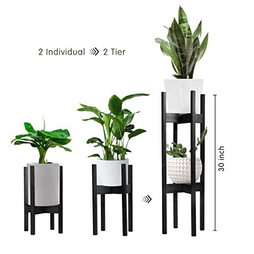 Becko 2 Packs Plant Stands Indoor Plant Racks Pot Holders, 2 Tier Tall Plant Stand for Home Decor Fit Pots in Varied Sizes with Adjustable Width 8 – 12 in, Plant & Pot Not Included (Black)