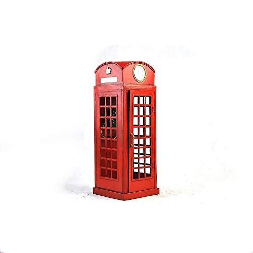 DAMAI STORE Teléfono De La Calle Relojes De Cabina Modelo De Juguete De Hojalata Pintado A Mano Decoraciones For El Hogar Adornos Vintage