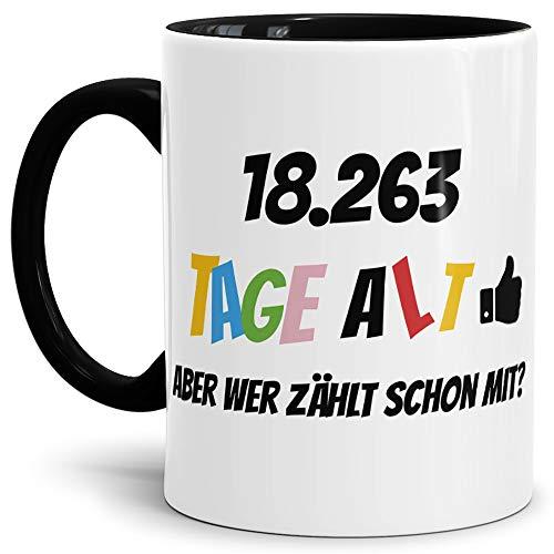 Tassendruck Geburtstags-Tasse 18263 Tage alt - Aber wer zählt Schon mit Geburtstagsgeschenk zum 50. Geburtstag in Innen & Henkel Schwarz/Geschenkidee/Scherzartikel/Lustig/Witzig/Spaß/Fun/Kaffee