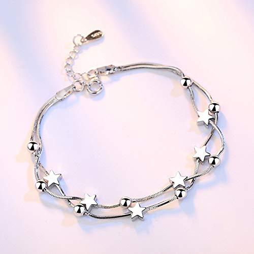 YIKOUQI Pulseras Multicapa de Plata de Ley 925 para Mujeres y niñas, Cuentas cuadradas de Estrella, Cadena de Serpiente, joyería de Compromiso de Boda