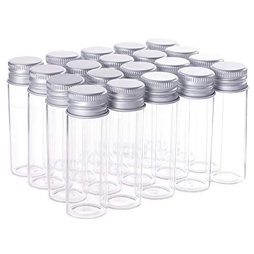 BENECREAT 20 Pack 15ml Botella de Vidrio con Tapa de Aluminio Botella de Deseo Decoración DIY de Manualidad Favores de Boda Decoraciones de Boda
