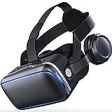 HTYQ 2 En 1 Auriculares 3D VR Headset, Auriculares Ajustables De Realidad Virtual para Niños Y Adultos, Gafas VR para Videojuegos, Compatibles con Teléfonos iPhone Y Android De 4.7-6.6 Pulgadas