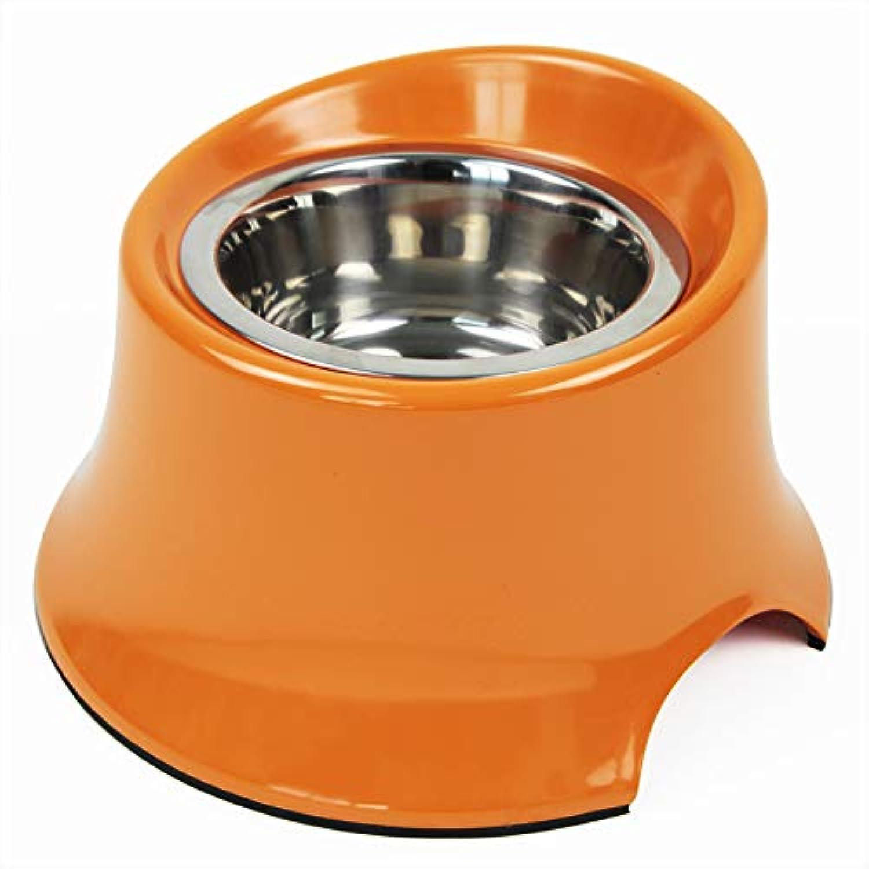 Pet Bowl  pet Supplies Dog Food Bowl Dog Pot Large Dog Stainless Steel Bowl Oblique high Bowl,orange,M