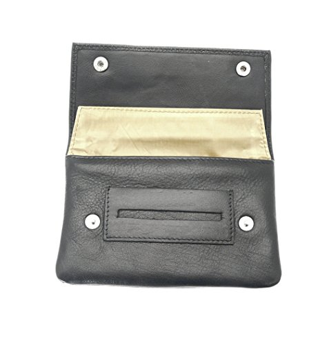 benerini Echtes weiches schwarzes Leder Premium-Qualität Tabakbeutel