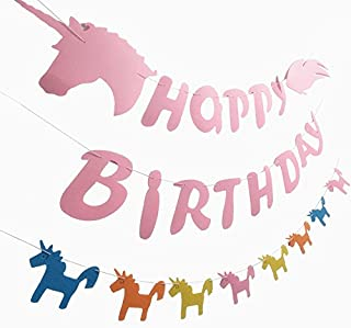 Unicorn Happy Birthday Banner Party Supplies Rainbow Garland Unicorn Themed Decorations for Kids Girls Boys Felt Pennants