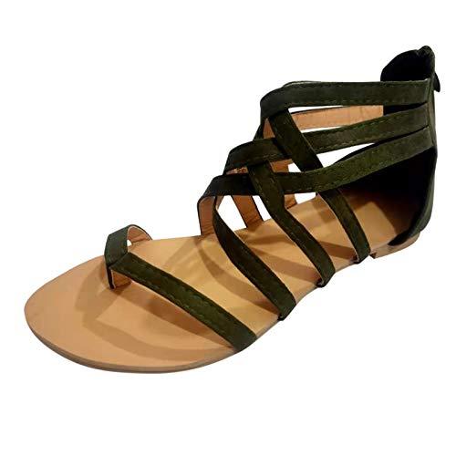 Zapatos Verano con Chanclas para Mujer, Sandalias Planas con Cremallera con Cordones Cruzados con Punta Clip, Sandalias Aire Libre para Viajar Playa Fiesta Piscina