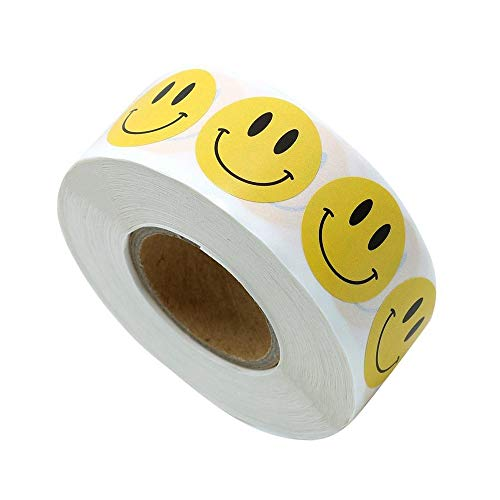 Haobase 500 Stück Smiley Aufkleber Rund 25mm Gelbe Runde Etiketten Smiley Sticker