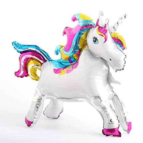 Self Stand steadily Unicorn Birthday Party Decorations Supplies Wedding Engagement Children's Day Foil Unicorn Horse Animal Balloons Toy (Unicorn Blue Pink)